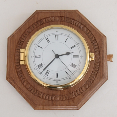 "Malcolm Pipes 'Foxman' Oak 10"" Bespoke Octagonal Wall Clock"