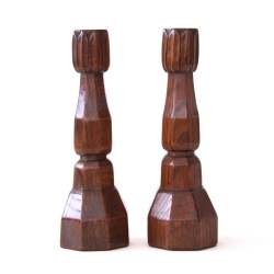 Robert Thompson 'Mouseman' Pair of Early Oak Candlesticks