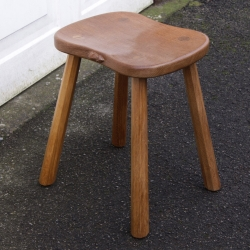 "Robert 'Mouseman' Thompson Oak 18"" 4 Leg Cow Stool"