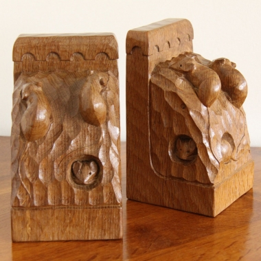 Robert 'Mouseman' Thompson, Oak Pair of Triple Mice Bookends