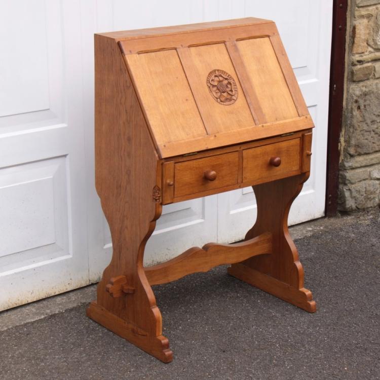 thomas gnomeman whittaker oak writing bureau. Black Bedroom Furniture Sets. Home Design Ideas