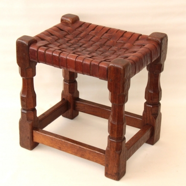 Thomas Whittaker 'Gnomeman' Rare Early Oak and Leather Stool