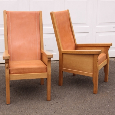 Robert Thompson 'Mouseman' Pair of Oak and Leather 'Smokers' Armchairs