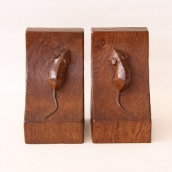 Robert Thompson 'Mouseman' Pair of Vintage Oak Bookends