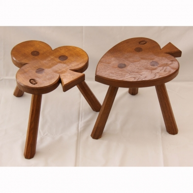 Alan 'Acornman' Grainger Pair of Oak 3 Legged Stools