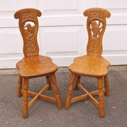 Sid Pollard, Pair of Oak Spinning Chairs