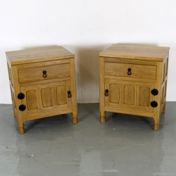 Brian Haw, ex 'Mouseman' Oak Pair of Bedside Cabinets