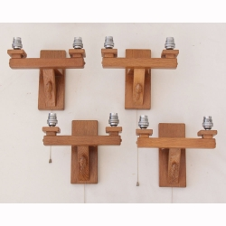 Colin Almack 'Beaverman' Oak Set of Double Wall Lights