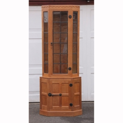 Robert Thompson 'Mouseman' Oak Glazed Corner Display Cabinet