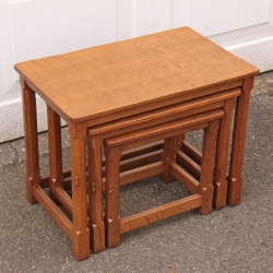 Robert Thompson 'Mouseman' Oak Nest of 3 Tables