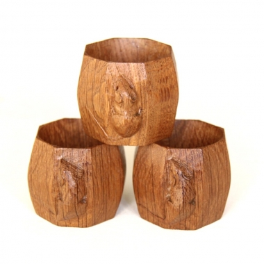 Robert 'Mouseman' Thompson Set of 3 Oak Napkin Rings