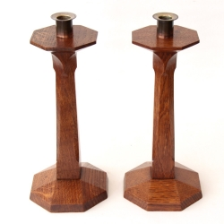 Yorkshire School Arts and Crafts Pair of Oak Candlesticks