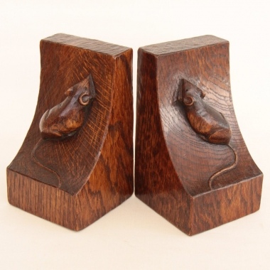 Robert Thompson 'Mouseman' Pair of Early Oak Bookends