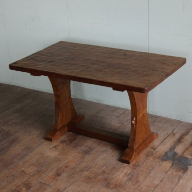 "Robert 'Mouseman' Thompson Rare 4'3"" Oak Dining /Reception Table"