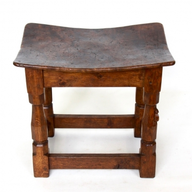 Mouseman Robert Thompson Early Burr Oak Dished Stool